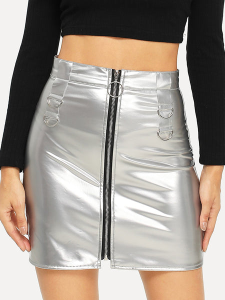 Silver Metallic Zip Front Mini Skirt