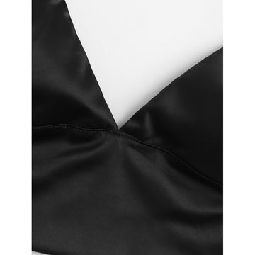 Black Plain Satin Bralette - Fashiontage
