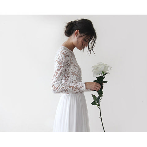 Long Sleeves Chiffon Dress Wedding With Train 3d Lace Bridal Gown Ivory D