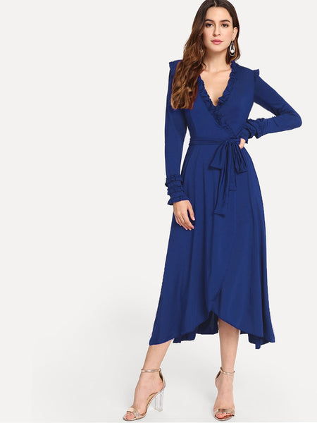Blue Surplice Front Frill Self Tie Long Dress
