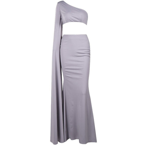 Grey One Shoulder Cocktail Dress