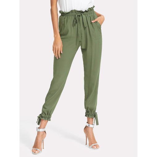 Army Green Mid Waist Tapered Carrot Pants - Fashiontage