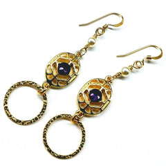 14 KT Gold Filled Hammered Circle Earrings