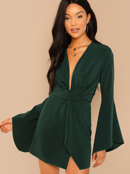 Green Plunge Neck Bell Sleeve Dress