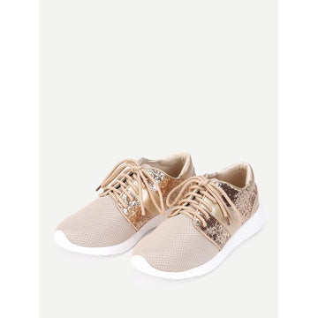 Sequin Detail Lace Up Sneakers - Fashiontage