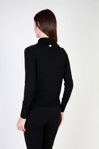 Cavalli Class Black Collar Long Sleeve Sweater