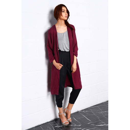 Collarless V Neck Front POckets Long Cardigan
