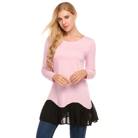 Shirts - Women's Trendy Pink Collar Long Sleeve T Shirt