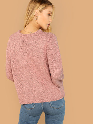 Sweatshirts - Women's Trendy Pink Round Neck Chenille Knit Pullover Sweater