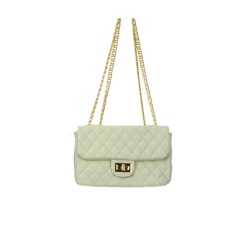 White Flap Leather Handbag