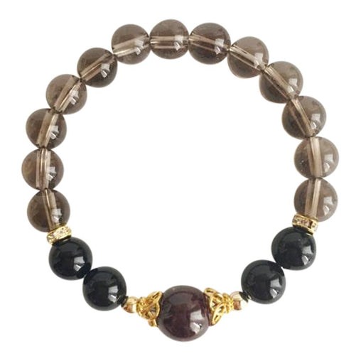 I am Grounded - Black Onyx, Garnet and Smoky Quartz Gold Filled Bracelet
