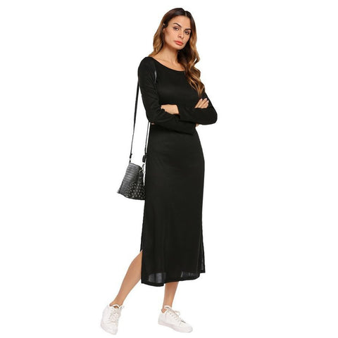 Black Collar Long Sleeve Knit Dress