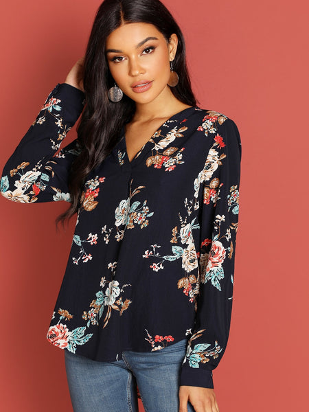 Navy Blue Curved Dip Hem Blouse