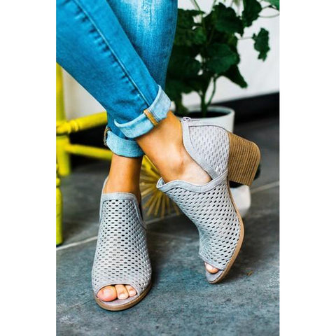 Booties - Women's Trendy Grey Peep Toe Ankle Block Heel Booties