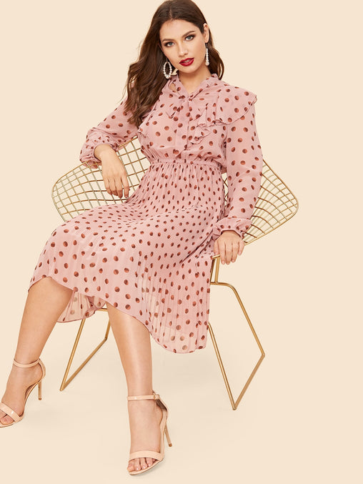 Pink Ruffle Embellished Tie Neck Midi Dress