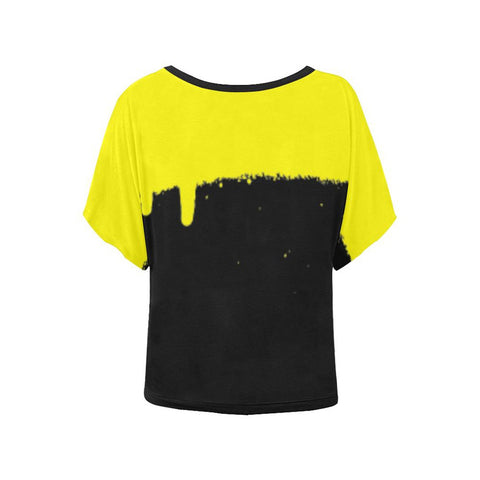 Plus Size Tops - Women's Trendy Plus Size Womens Batwingsleeved Yellow Spray Top