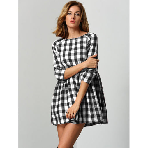 Black & White Boat Neck Flared Gingham Dress