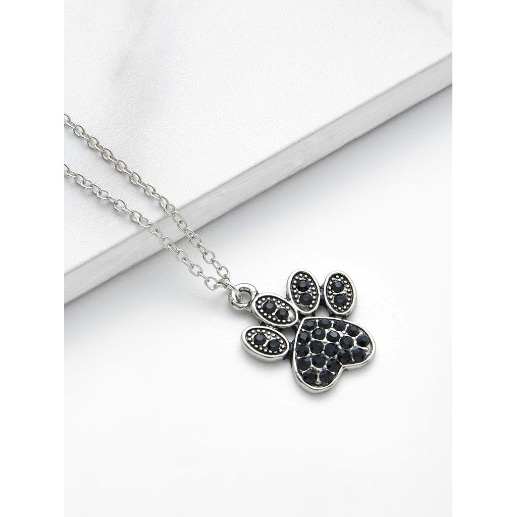 Fashiontage silver rhinestone claw pendant chain necklace silver rhinestone claw pendant chain necklace silver rhinestone claw pendant chain necklace aloadofball