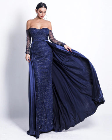 Day Dresses - Women's Trendy Navy Blue Off Shoulder Evening Dress