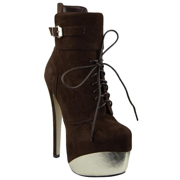 Brown Mid Calf Two Tone Platform Boots
