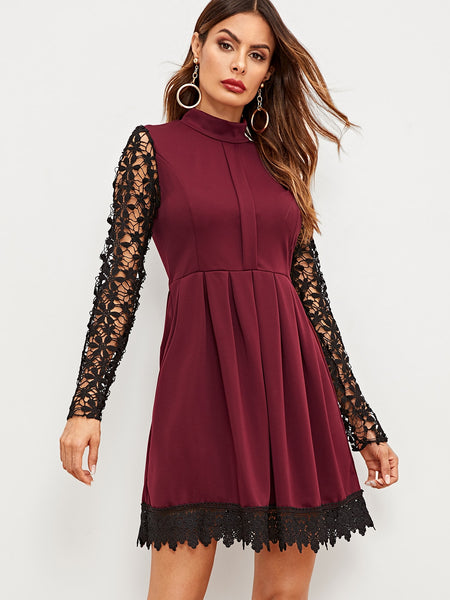 Burgundy Contrast Lace Flared  Short Dress
