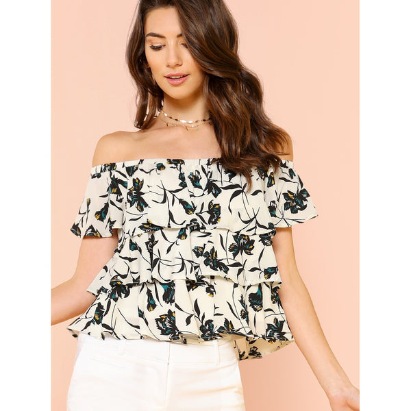 Blouses - Women's Trendy Black And White Off The Shoulder Floral Print Blouse