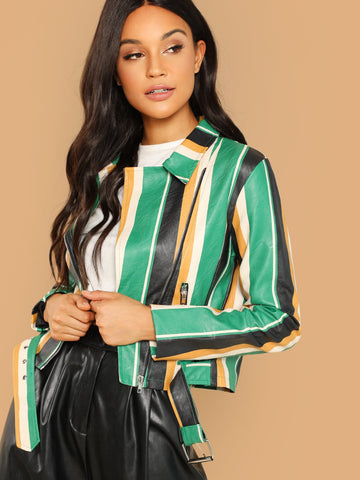 Multicolor Zip Front Belted Waist Striped Faux Leather Jacket
