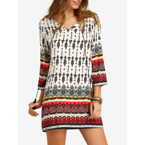 Multicolor V-Neck Long Sleeve Shift Dress