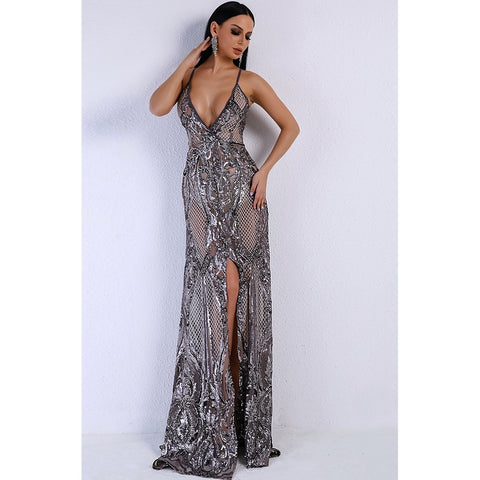 Formal Dresses - Women's Trendy Silver Grey Sequin Dress