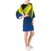 Day Dresses - Women's Trendy Blue Round Neck Bell Sleeve Shift Dress