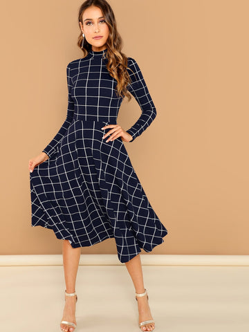 Day Dresses - Women's Trendy High Neck Fit Flare Dress