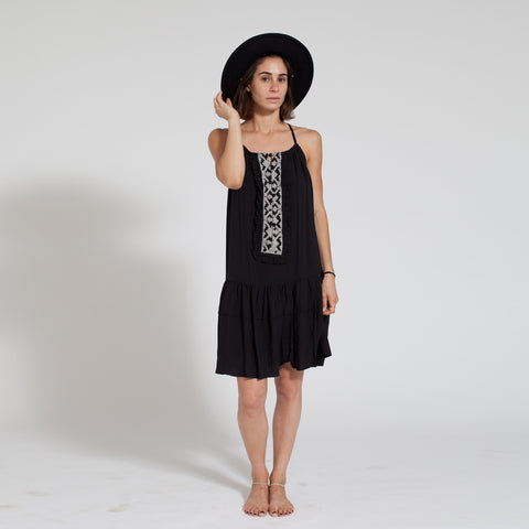 Day Dresses - Women's Trendy Black Midi Dress