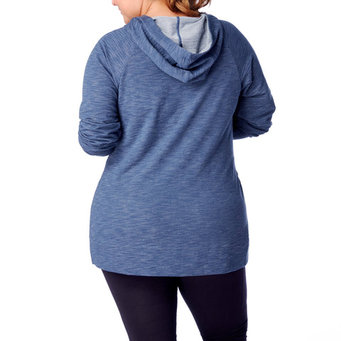 Plus Size Tops - Women's Trendy Plus Size Blue Relaxed Fit Hem Tops