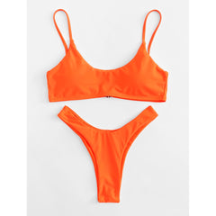 High Leg Plain Bikini Set - Fashiontage