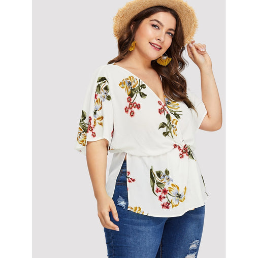 Plus Size White Flower Print Wrap Front Blouson Top