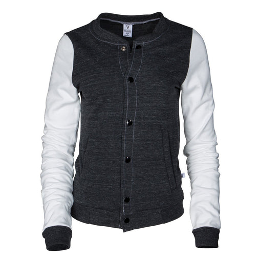 White Crew Neck Letter Print Fitted Jacket