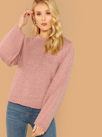 Blouses - Women's Trendy Pink Round Neck Chenille Knit Pullover Sweater