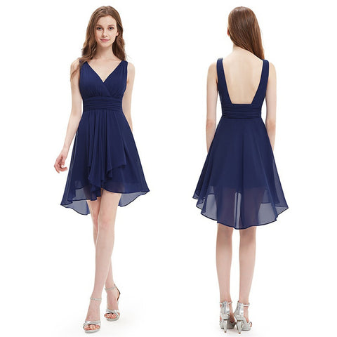 Navy Blue V-Neck Padded Daydress