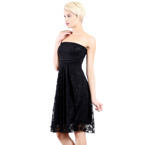 Black Strapless Cocktail Party Tube Lace Dress