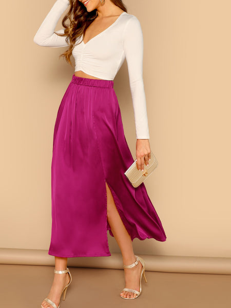 Pink Split Hem Solid Satin Maxi Skirt