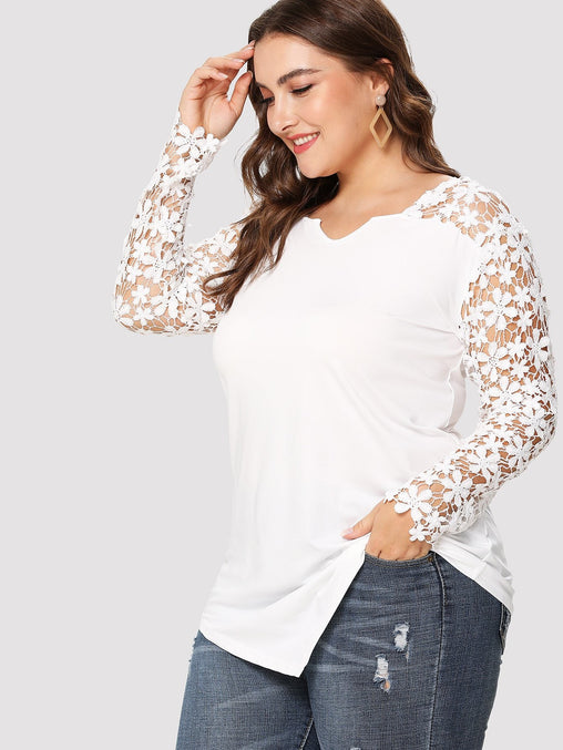 Plus Size White Lace Panel Asymmetric T-Shirt