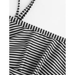 Cold Shoulder Flounce Striped Swimsuit - Fashiontage