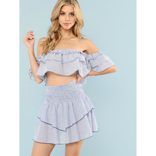 Blue Tiered Ruffle Bardot Top and Skirt Set