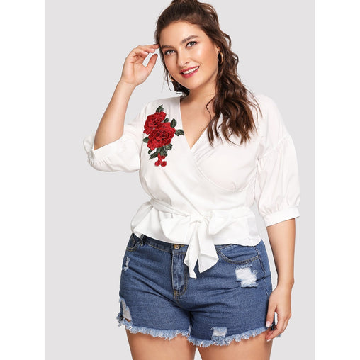 Plus Size White Embroidery Floral Print Top