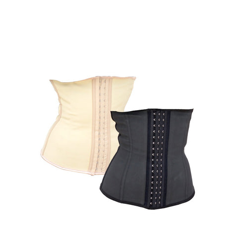 Plus Size Black Cotton Front Closure Corset
