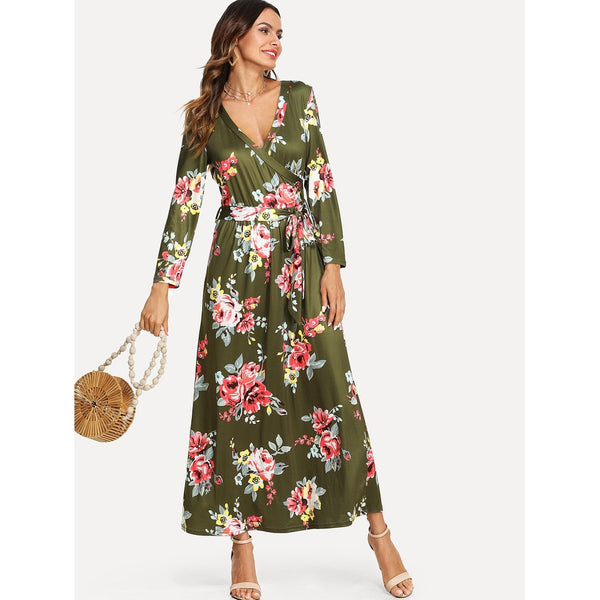 Army Green V-neck Long Sleeve Floral Print A Line Dress