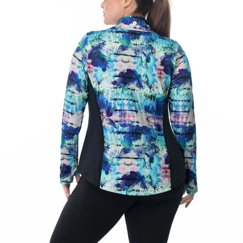 Plus Size Multicolor Collar Print Oversized Jacket