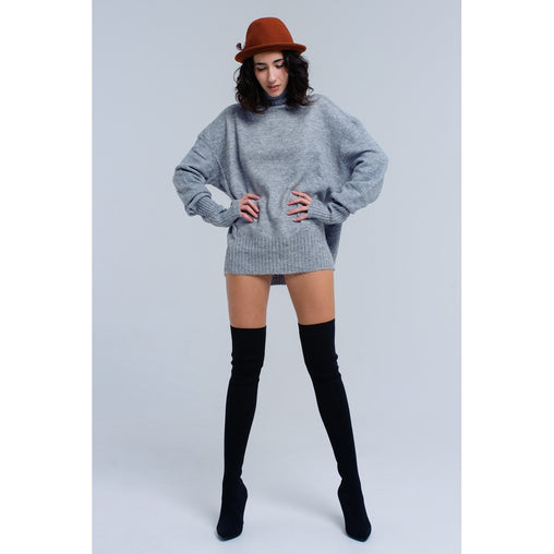 Plus Size Grey Long Sleeve Sweater