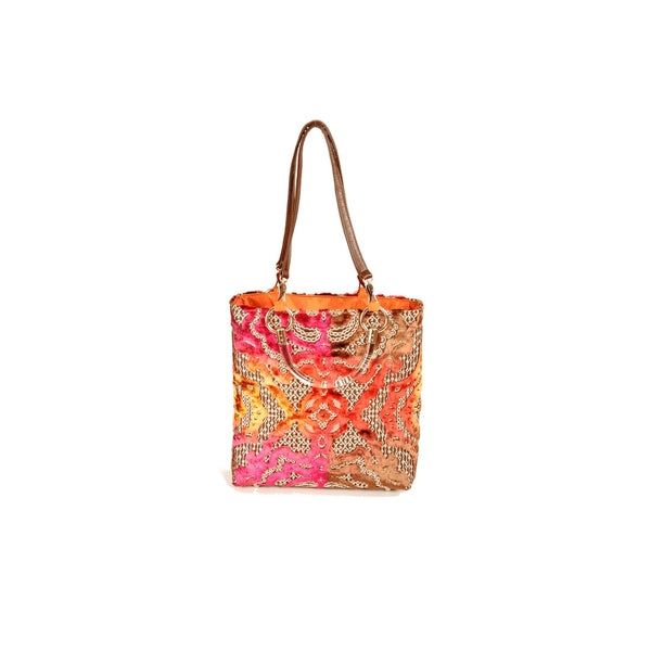 Tote Bags - Women's Trendy Magenta Baroque Small Tote Bag