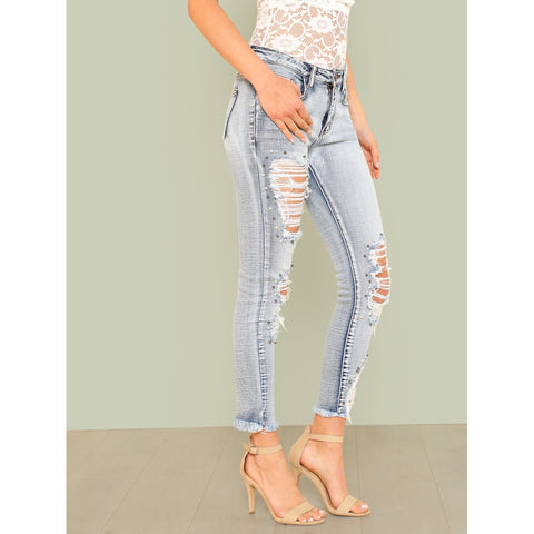 Blue Skinny Low Waist Tapered Jeans